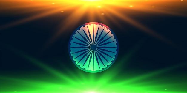 ライトの背景で作られたインドの国旗