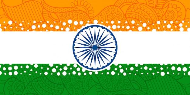 エスニックペイズリー装飾と創造的なインドの旗