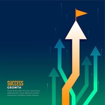 ビジネスの先導する矢印とフラグ