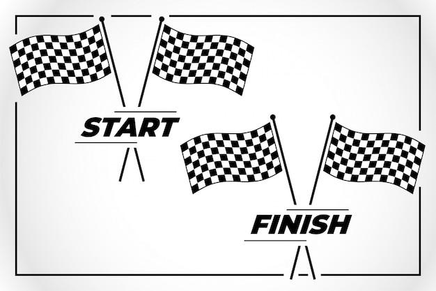 スタートレースとフィニッシュレースのチェッカーフラッグ
