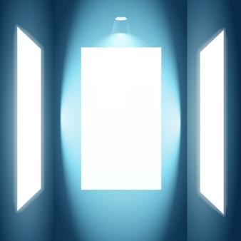 ライトが付いているポスターのモックアップ