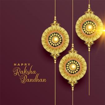 ラクシャバンダンの美しい黄金のラキの背景