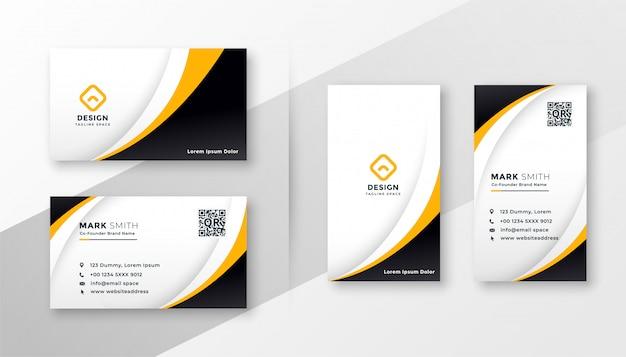 黄色をテーマにした現代の企業のビジネスカード