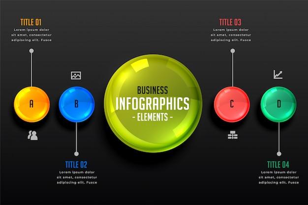 暗いテーマインフォグラフィック手順テンプレート