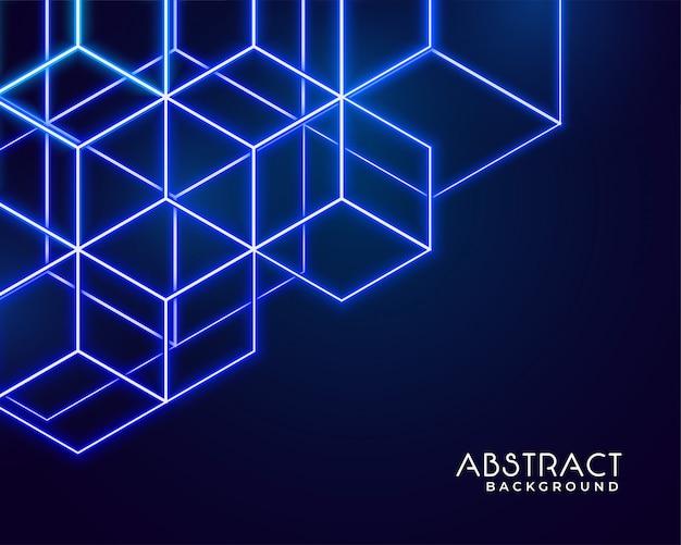 六角形のネオン形の抽象的なテクノロジー