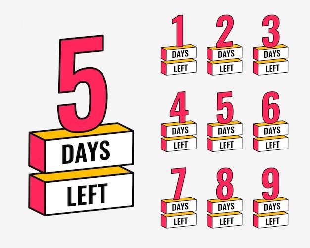 Количество дней, оставшихся до обратного отсчета
