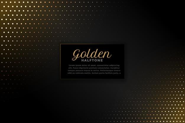 ゴールデンハーフトーンと黒の背景