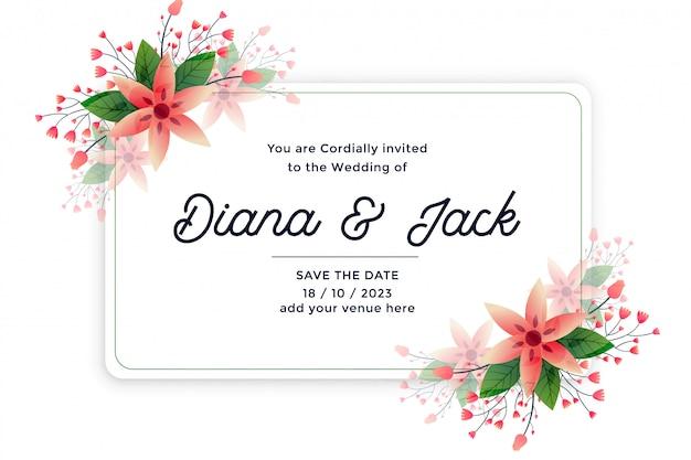 自然の葉と花の結婚式の招待カード