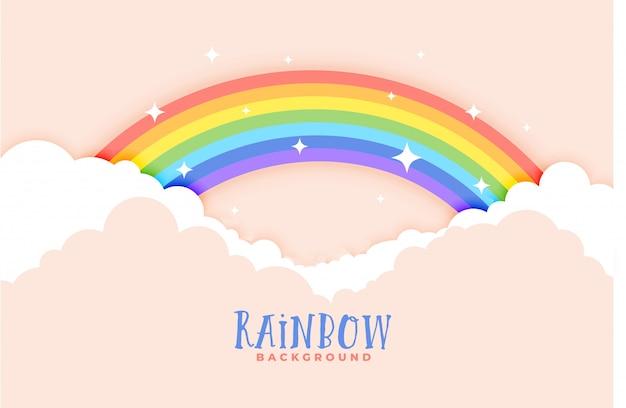 かわいい虹と雲のピンクの背景