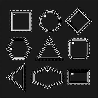 Белые геометрические фигуры в наборе стиля линии