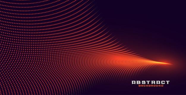 輝く抽象的なオレンジ粒子波背景