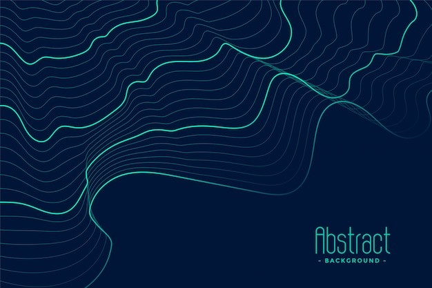 Абстрактный синий фон с бирюзовыми контурными линиями