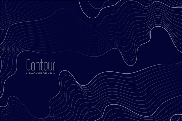Абстрактные контурные линии темно-синий фон
