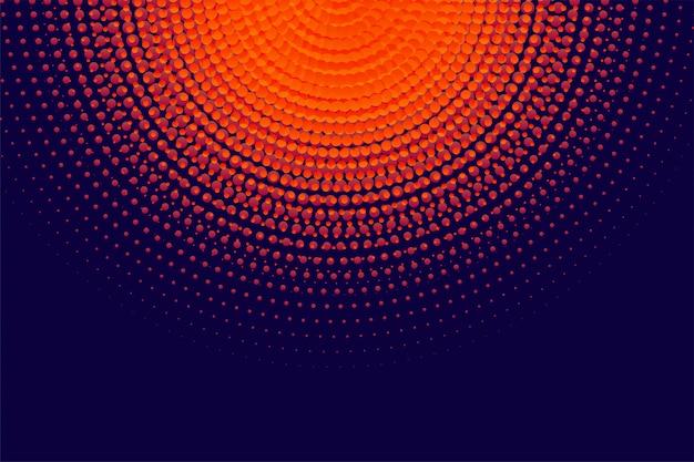円形のオレンジ色のハーフトーンの背景