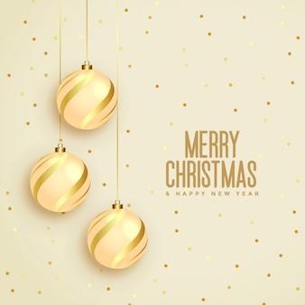 Веселая рождественская открытка с золотыми шарами