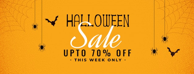 Хэллоуин желтый баннер продажи с пауком и паутиной