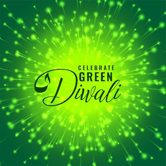 緑のディワリ花火のお祝いの概念図