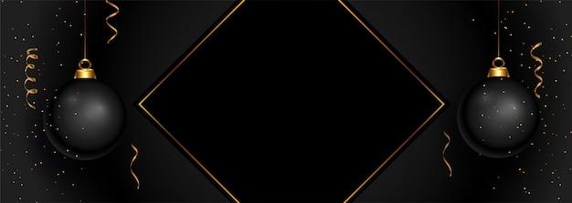 Черный счастливого рождества баннер с пространством для текста