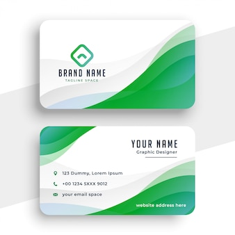 Элегантный бело-зеленый шаблон визитной карточки