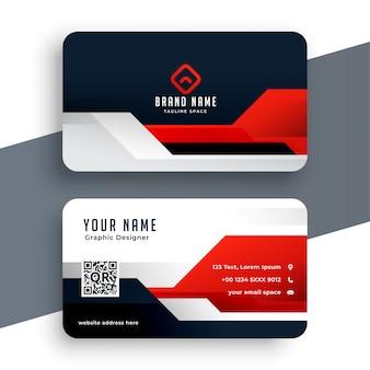 Современный красный шаблон визитной карточки в геометрическом стиле