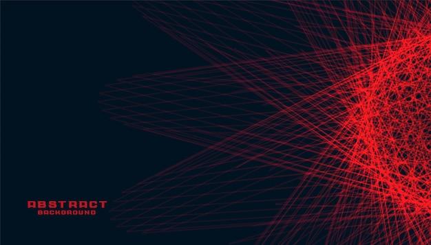 Абстрактный черный фон со светящимися красными линиями