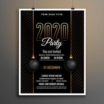 Элегантный черно-золотой новогодний шаблон флаера