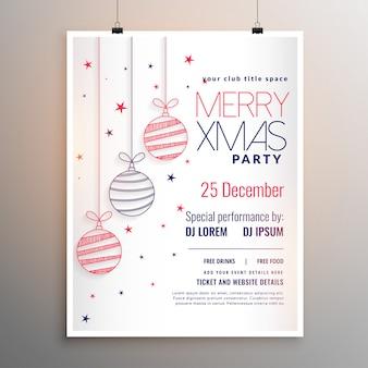 線のスタイルで白いメリークリスマスチラシデザイン