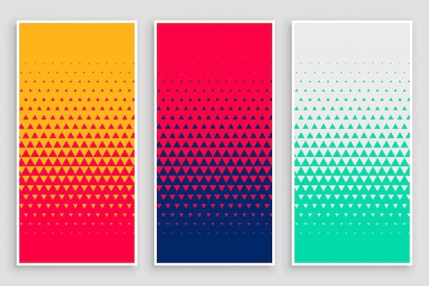 さまざまな色の三角形のハーフトーンパターン