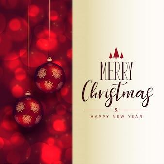 クリスマスボールと美しいメリークリスマスフェスティバルカード