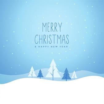 木とメリークリスマス冬雪景色