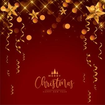 メリークリスマスフェスティバルのお祝いの赤と金の挨拶