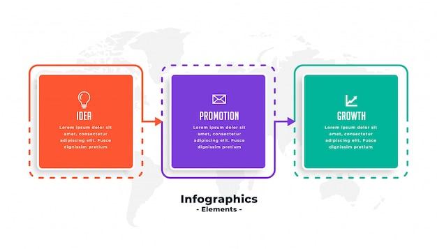 Три шага бизнес инфографики шаблон