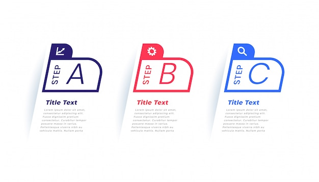 Три шага современный бизнес инфографики шаблон