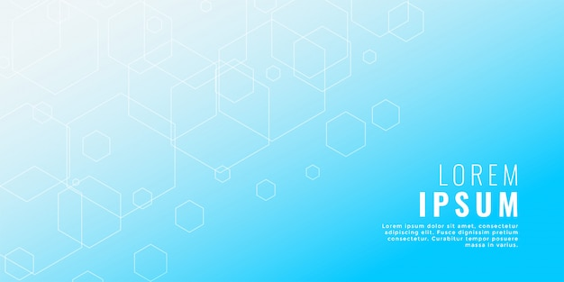 Чистый синий шестиугольная линия медицинский стиль фона