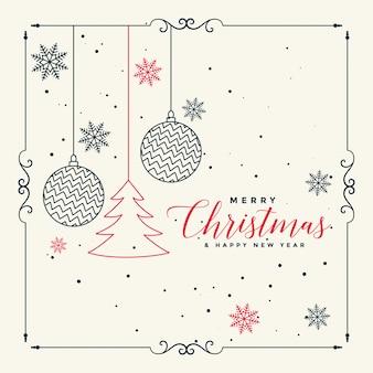 メリークリスマスのスタイリッシュなラインアートの背景
