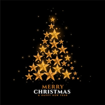 Золотые звезды рождественская елка фестиваль фон