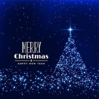 輝きの背景で作られたメリークリスマスツリー