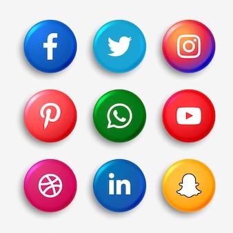 ソーシャルメディアのロゴボタンセット