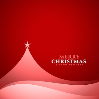 エレガントな最小限のクリスマスツリーデザインの赤いカード