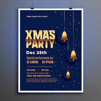 Шаблон плаката рождественской вечеринки с золотым рождественским деревом