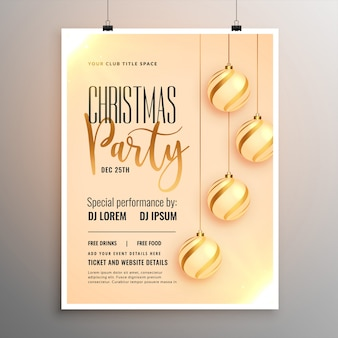 Красивая веселая рождественская вечеринка флаер шаблон дизайна