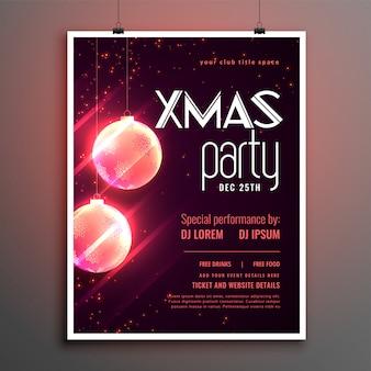 メリークリスマスの光沢のあるパーティーカバーポスターテンプレートデザイン