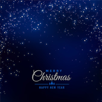 Счастливого рождества синий фон с падающими блестками