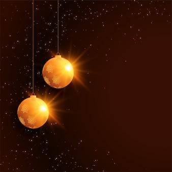 ボールの装飾とメリークリスマスフェスティバルのお祝い背景
