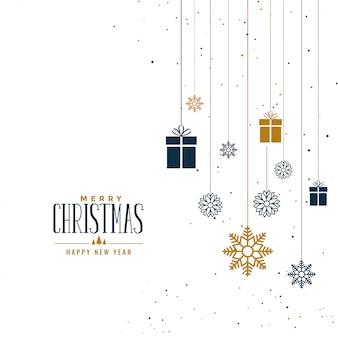 ギフトと雪片で装飾的なクリスマスの背景
