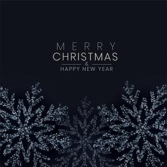 キラキラ背景で作られたメリークリスマス黒スノーフレーク