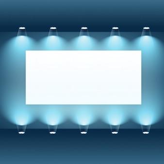 スポットライトとプレゼンテーションボード