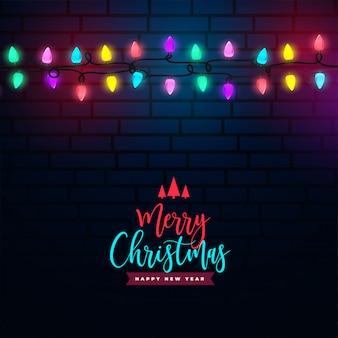 メリークリスマスのカラフルな光の装飾背景