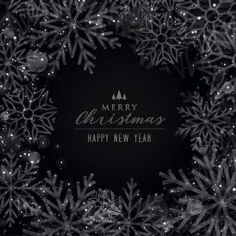 Счастливого рождества черная тема снежинки фон