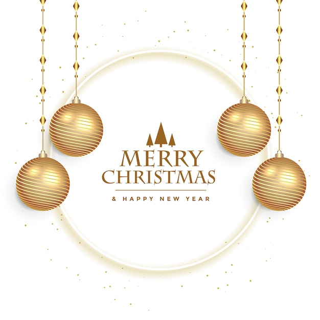 Белая рождественская открытка с шарами